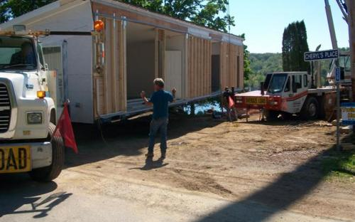 Modular home being built